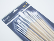 Jerry Q Art 12 PC White Synthetic Hair Long Handle Paint Brush Set for Watercolour and Acrylic JQ83858