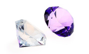 H & D 40mm 2pcs Diamond Glass Shaped Home Accent Decoration Paperweight Wedding Decoration with Gift Box