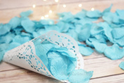 Turquoise Silk Rose Petals Confetti for Weddings in Bulk by PaperLanternStore