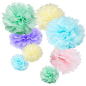 WYZworks Set of 8 (Assorted Soft Pastel Colour Pack) 20cm 30cm 36cm Tissue Pom Poms Flower Party Decorations for Weddings, Birthday, Bridal, Baby Showers Nursery Décor