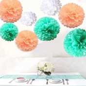 Saitec ® Pack of 18PCS Mixed Size White Mint Green Peach Party Tissue Pom Poms Wedding Birthday Party Baby Room Nursery Decoration