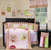 SISI Baby Bedding - Jungle Monkey Pink 14 PCS Crib Bedding Including Lamp Shade