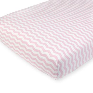 . Pink Chevron Knit Crib Sheet