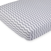 . Grey Chevron Printed Knit Crib Sheet