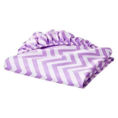 Fitted Crib Sheet Purple Lavender Zig-zag Chevron Print 100% Cotton Baby Nursery by Circo