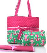NGIL Hot Pink Anchor Print Quilted Nappy Bag