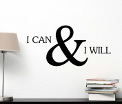I can and I will cute Wall Vinyl Inspirational Quote lettering motivational Art Saying Sticker stencil nursery wall decor
