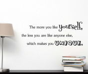 The more you like yourself the less you are like anyone else which makes you unique cute Wall Vinyl Decal Quote lettering Art Saying Sticker stencil nursery wall decor