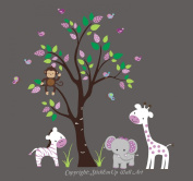 Baby Nursery Kids Children's Wall Decals: Safari Jungle Animals Wildlife Themed 210cm tall X 280cm wide (Inches)