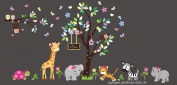 Baby Nursery Children's Wall Decals: Safari Jungle Animals Wildlife Themed 210cm X 370cm (Inches): Repositionable Removable Reusable Wall Art. vinyl wall decals