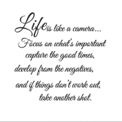 MLMSZ Life Is Like A Camera Vinyl Art Wall Decals Quotes Home Decor Removable Wall Decal Mural
