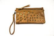 Brown Studded Wristlet/Crossbody Handbag