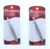 Lot of 2 Stainless Steel Slanted Tip Tweezers Precision Eyebrow Plucking