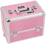 Craft Accents 6-Tiers Extendable Tray Professional Aluminium Cosmetic Makeup Case, Pink Crocodile, 5200ml by Craft Accents