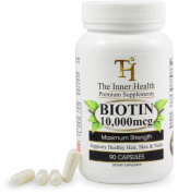 Biotin 10,000 Mcg By The Inner Health - 90 Capsules - Maximum Strength - Best Biotin for Hair Growth - Biotin Nail Strengthener - Supports Healthy Hair, Skin & Nails - Made in USA - Premium Supplement