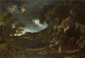 The High Quality Polyster Canvas Of Oil Painting 'Gaspard Dughet And Carlo Maratta Landscape With The Union Of Dido And Aeneas ' ,size