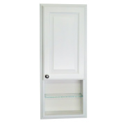 WG Wood Products Recessed in The Wall Tyler Medicine Storage Cabinet with 30cm Open Shelf & 8.9cm Deep, 90cm , White Enamel