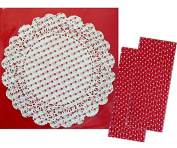 Talking Tables Red and White Polka Dot Doilies -24cm 20 Pack and Outside the Box Papers Red and White Polka Dot Paper Straws -50 Pack