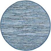 Matador Leather and Denim Dhurry Round Rug, 2.4m by 2.4m, Blue