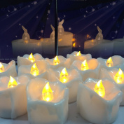 Youngerbaby 12pcs Flicker Yellow Amber Battery Operated Candles, Unscented Small Flameless Candles, LED Candle, Led Tea Lights Candles for Wedding, Christmas and Party with Timer, 6hr On-18 Hr Off