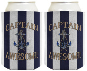 Funny Beer Coolie Captain Awesome Nautical Sailing Boating 2 Pack Can Coolie Drink Coolers Coolies Nautical Stripes