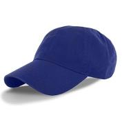 Blue-100% Cotton Adjustable Baseball Cap Hat Polo Style Washed Plain Solid Visor