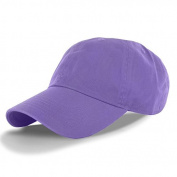 Lavender-100% Cotton Adjustable Baseball Cap Hat Polo Style Washed Plain Solid Visor