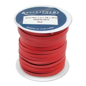 Deerskin Lace Leather Cord String RED 15m Spool 0.3cm