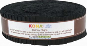 Kona Cotton Solids Black Skinny Strips 40 Pieces 3.8cm Honey Bun Robert Kaufman Fabrics SS-101-40