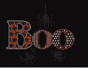 Boo with Spider Rhinestone Iron on Transfer