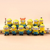 12PCS X Despicable Me The Minions PVC Miniature Toy Figures Yellow 3-4cm/1.2-1.6inch Tall