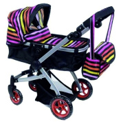 Babyboo Deluxe Doll Pram with Swivelling Wheels & Adjustable Handle and Free Carriage Bag