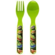 Teenage Mutant Ninja Turtles Nickelodeon Series 2012 - Present Flatware Set (2) - Plastic Forks & (2) Plastic Spoons - (1) Green & (1) Blue Set = (4) Total Utensils