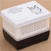 black and white Owl fruit lacquer Bento Box lunch box from Japan