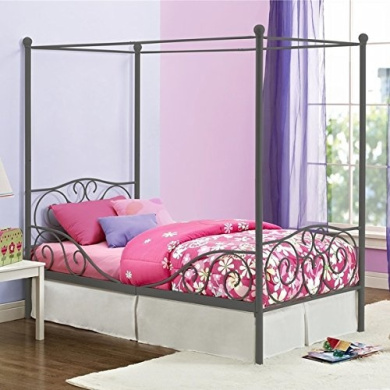 Girl's Grey Metal Canopy Bed Twin Sized Princess Grey Frame Vintage Antique French Country Victorian Style Kids Bedroom Furniture Mattress Mosquito Nets Curtains Bedding Pillows Blankets Not Included