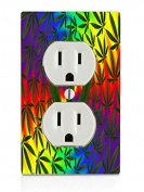 Weed Leaves Electrical Outlet Plate