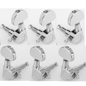 Musiclily 3+3 Epi Style Guitar Sealed Tuners Tuning Keys Pegs Machine Head Set for Gibson Epiphone Guitar, Half Moon Button Chrome