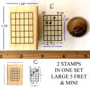 Guitar Chord Stamp Set - 2 Fretboard Rubber Stamps