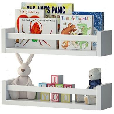 Set of 2 Nursery Room Wall Shelf White Wood