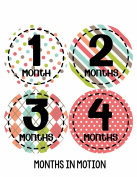 Months in Motion 267 Baby Month Stickers for Newborn Girl Colourful Design