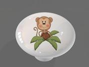 Coconut Palm Monkey High Gloss Ceramic Drawer Knob