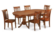 East West Furniture PLPO7-SBR-W 7-Piece Dining Table Set