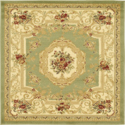 Traditional 1.2m by 1.2m (1.2m x 1.2m) Square Versailles Green Area Rug