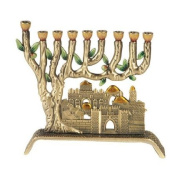9 Branch Jerusalem Pewter Menorah - Heirloom Quality