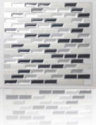 Tic Tac Tiles - High Quality Peel and Stick Wall Tile in Brick Metal Grey