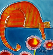 Continental Art Centre SD-110 10cm by 10cm Orange Cartoon Cat Ceramic Art Tile