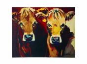 Creative Co-Op Canvas Cow Plaque