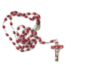 Blessed By Pope Francis Rose Scented Rosary with Wood Crucifix
