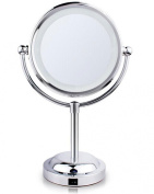 Top Star Store Home Decoration Cordless LED Vanity Table / Bathroom 15cm Tabletop Makeup Mirror & Double-sided Swivel Magnifying Mirror Chrome Plated