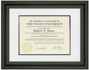 TREVISO Ebony-Black Wood /matted 11x8.50 / 15.50x13 ARTCARE certificate frame by Nielsen® - 8.5x11
